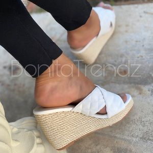 Elegant White Quilted Rope Sole Wedges